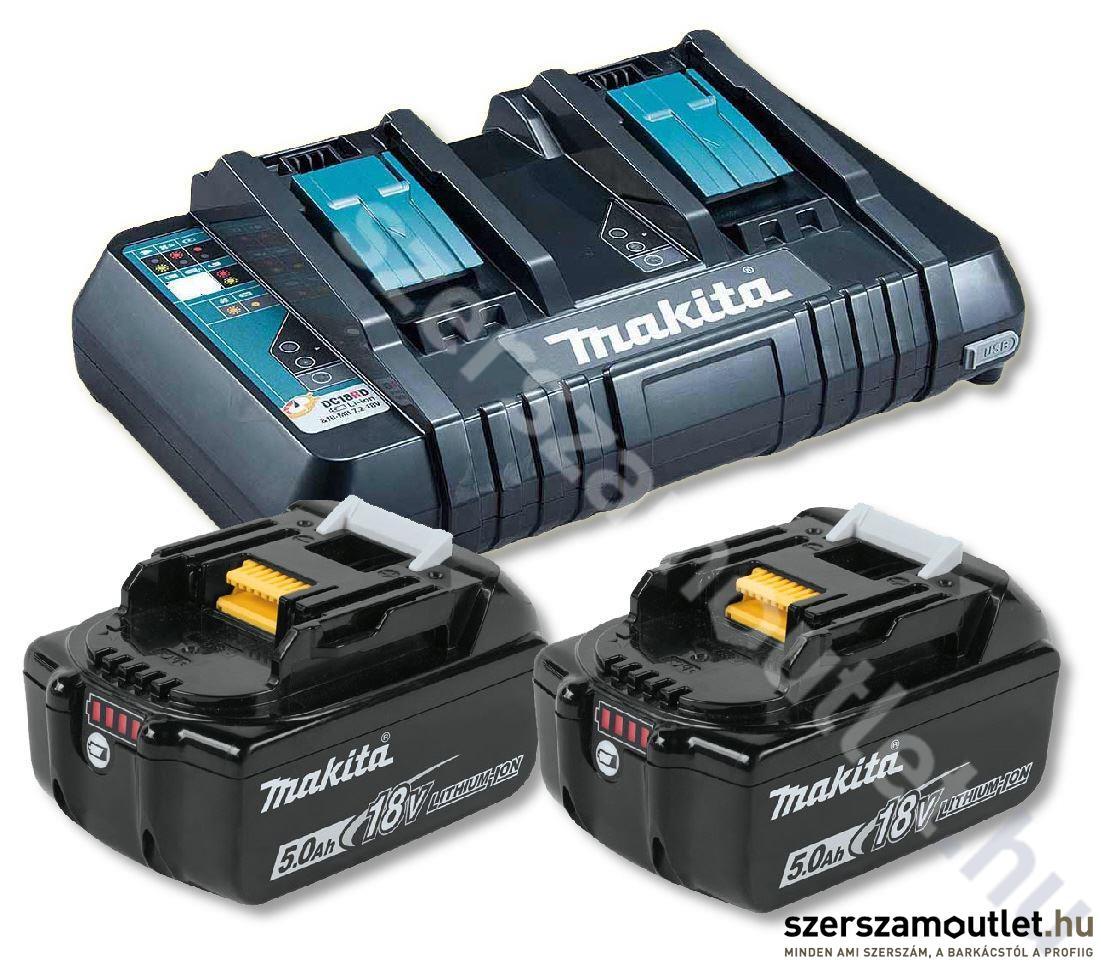 MAKITA 2db BL1850 akkumulátor + DC18RD Dupla töltő csomag