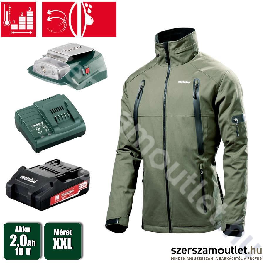 METABO HJA 14,4-18 Akkus fűthető kabát + PA 14,4-18 LED-USB akkus lámpa+2,0 Ah akku+ töltő