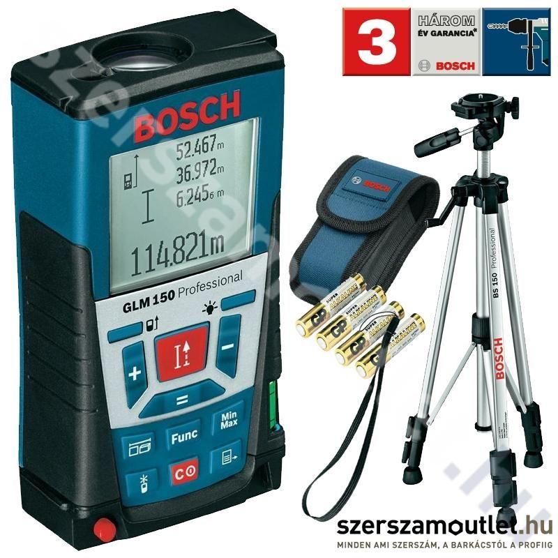 BOSCH GLM 150 Lézeres Távolságmérő + BS 150 Állvány