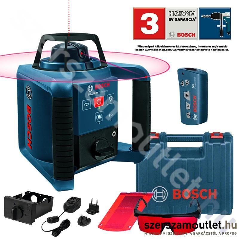 BOSCH GRL 250 HV Forgólézer + Távirányító + Akku + Koffer