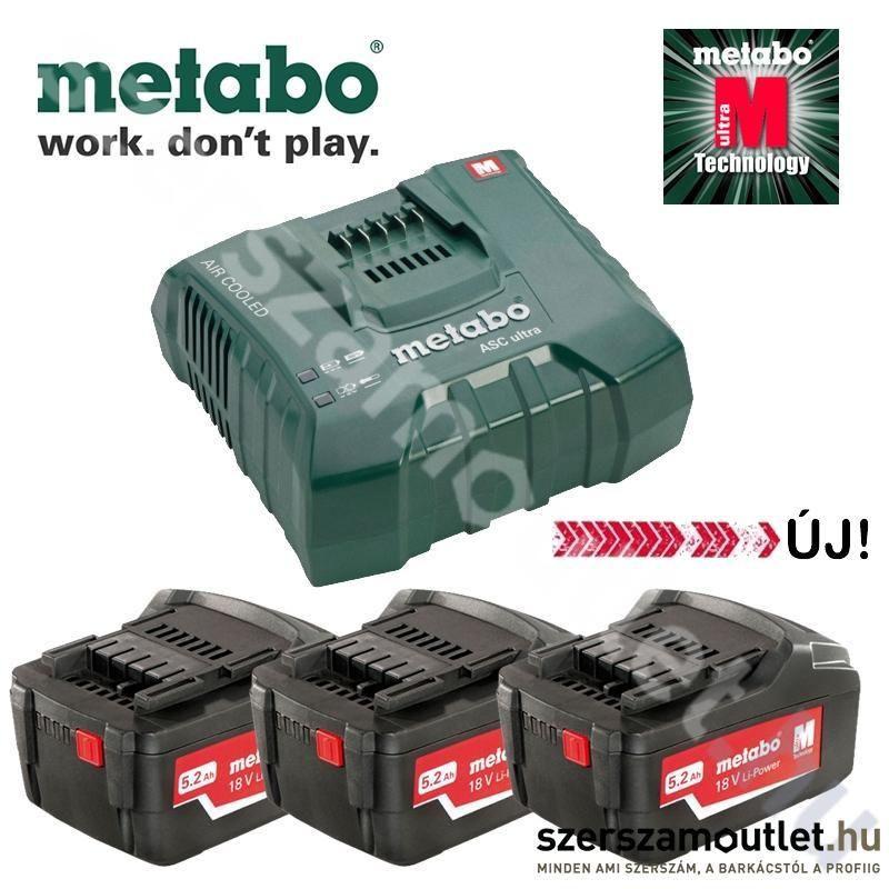 METABO Basic akkumulátor szett 3db 5.2Ah/18V akku + ASC 14,4-36V ULTRA Szupergyors töltő
